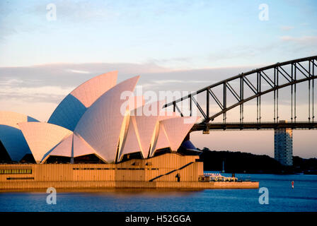 Australia, Sydney, Opera House & Harbour Bridge from Mrs. Macquarie's Point - Stock Photo