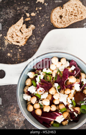Chickpea salad with radicchio in a bowl - Stock Photo