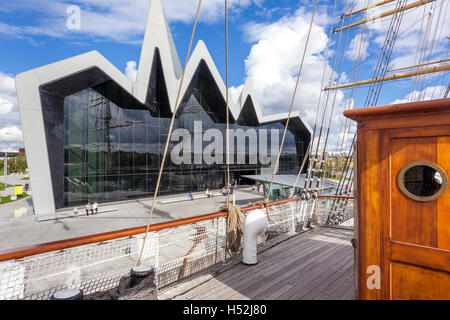 The Riverside Museum of Transport and Travel beside the River Clyde in Glasgow, Scotland UK - viewed from the tall - Stock Photo