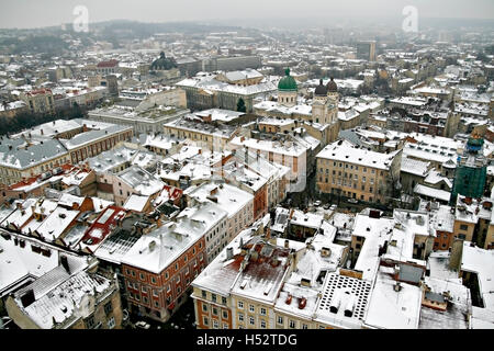 roof of the old city in the winter in Lviv top view. - Stock Photo