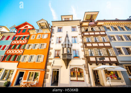 Typical historical swiss architecture - Stock Photo