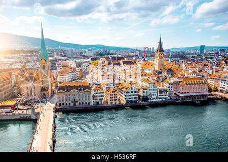 Aerial view on Zurich city in Switzerland - Stock Photo