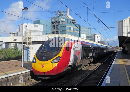 Pendolino at Warrington Bank Quay Rail Station, WCML Cheshire, England,UK - Stock Photo
