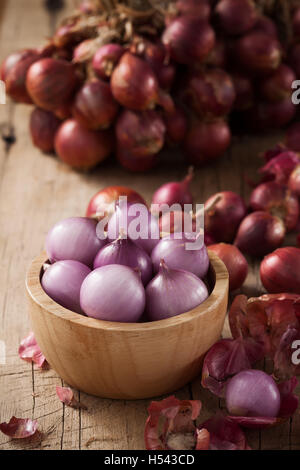 shallots still life wood background onion bulb season herb vegetable ingredient - Stock Photo