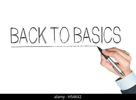 back to basics written by hand, hand writing on transparent board, photo - Stock Photo