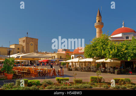 Main Town Square and Defterdar Mosque in Kos Town, Island of Kos, Dodecanese  South Aegean Greece - Stock Photo