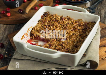 Homemade Cranberry Apple Cobbler Crumble Ready to Eat - Stock Photo