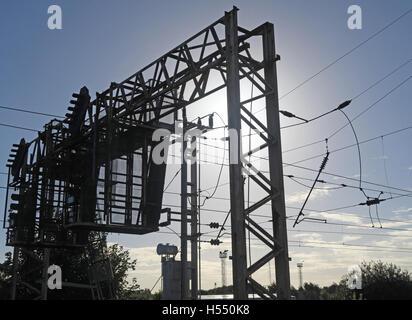 Overhead lines, electric train line,WCML,England,UK - Stock Photo