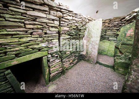 The interior of Unstan Neolithic chambered cairn on Mainland, Orkney, Scotland, UK - Stock Photo