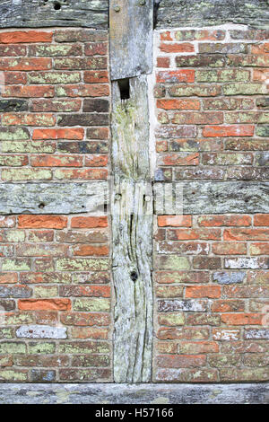 Timber frame and brick house wall detail at Weald and Downland open ...