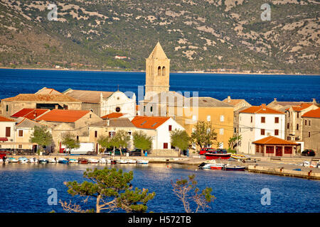 Town of Vinjerac in Velebit bay view, Dalmatia, Croatia - Stock Photo
