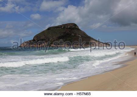 Island off the beach at Pontal, Barra, Rio de Janeiro, Brazil on 12/08/16 - Stock Photo