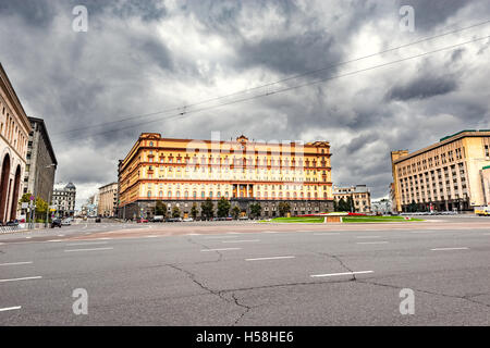 Lubyanka square by FSB and KGB headquarters in the historical center of Moscow, Russia - Stock Photo