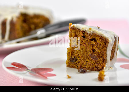 Home made carrot cake slice on plate - Stock Photo