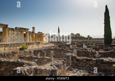 The ruins  in the small town Capernaum on the coast of the lake of Galilee. According to the bible this is the place - Stock Photo