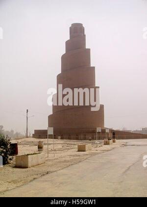 25th April 2003 The ancient minaret of the Al Malwiya mosque in Samarra, Iraq. - Stock Photo