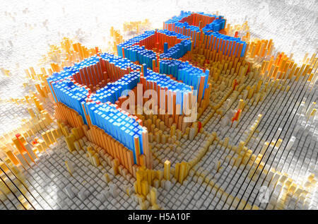 A 3D render of a microscopic closeup concept of small cubes in a random layout - Stock Photo