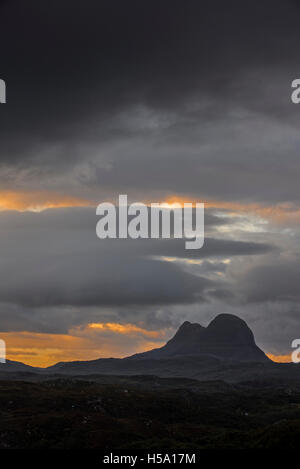 Rain clouds over the mountain Suilven,  Inverpolly National Nature Reserve, Sutherland, Scottish Highlands, Scotland, - Stock Photo
