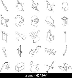 Medieval knights icons set, isometric 3d style - Stock Photo