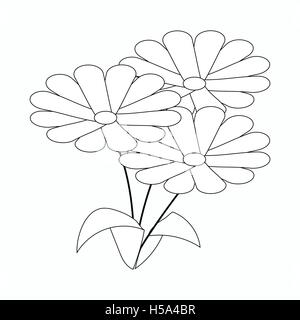 Three flowers icon, isometric 3d style - Stock Photo