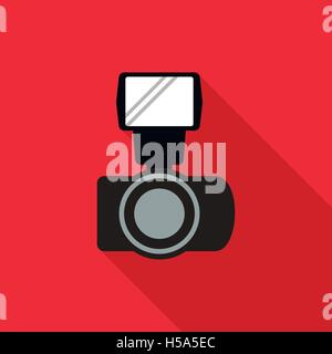 Photo camera and flash icon, flat style - Stock Photo