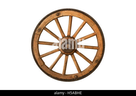 brown old wooden wheel isolated on white background - Stock Photo