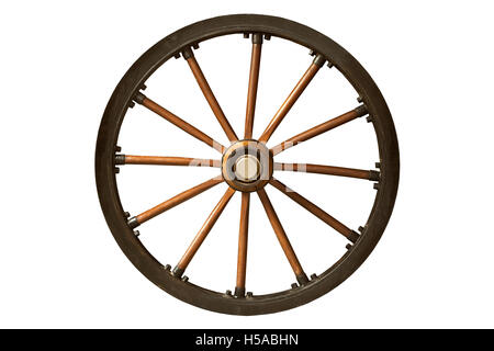 brown and black old wooden wheel isolated on white background - Stock Photo
