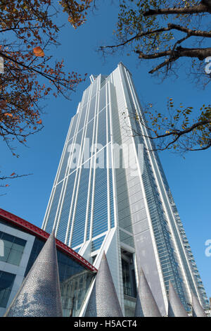 Osaka, Japan – November 30 2015: The Osaka Prefectural Government Sakishima Building, or Cosmo Tower. - Stock Photo