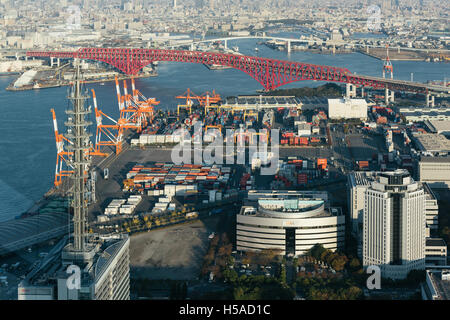 Osaka, Japan – November 30 2015: View from atop the World Trade Center of Osaka Sea Port built on reclaimed land - Stock Photo
