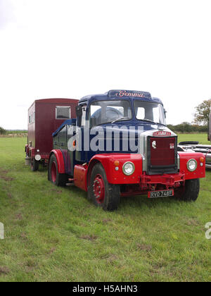 Scammell truck (Gemma) and living van on display at Lineside vintage weekend - Stock Photo