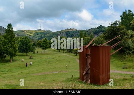 Sculpture in the park of La Arboleda - recreation area in Trapaga Valley near Bilbao, Vizcaya, Basque Country, Spain, - Stock Photo