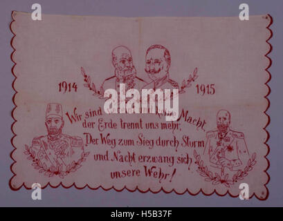Decorative embroidery depicting German ruler and allies during World War I - Stock Photo