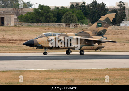 Saudi Arabian Air Force Panavia Tornado IDS braking runway 14 after landing. - Stock Photo