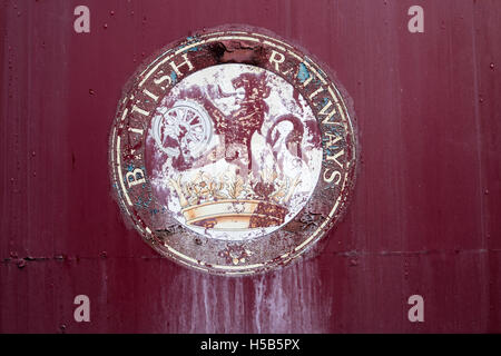 British Railways crest on an abandoned railway carriage - Stock Photo