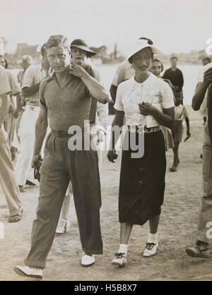 King Edward VIII and Mrs Simpson on holiday in Yugoslavia, 1936. - Stock Photo