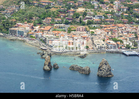 Aerial view of Aci Trezza, Sicily, Italy - Stock Photo