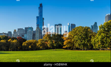 Central Park Sheep Meadow with full autumn colors. Midtown Manhattan skyscrapers in early morning light. New York - Stock Photo