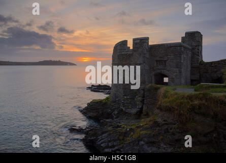 Dawn over Pendennis Point in Cornwall, looking across Carrick Roads towards St Anthony Head - Stock Photo