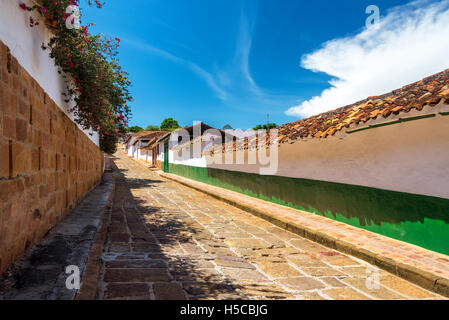 View of colonial street in the historic town of Barichara, Colombia - Stock Photo
