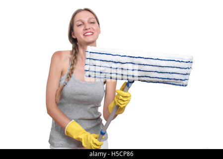 Cleaning concept. Woman with floor mop and yellow rubber gloves - Stock Photo