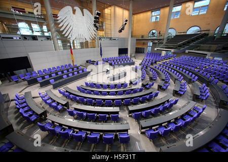 Berlin, Germany. 20th Oct, 2016. The plenary hall of the German Bundestag parliament prior to its 196th session - Stock Photo