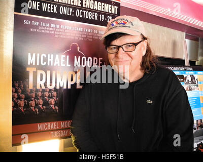 New York, US. 19th Oct, 2016. Film maker Michael Moore posing after the presentation of his documentary 'Michael - Stock Photo