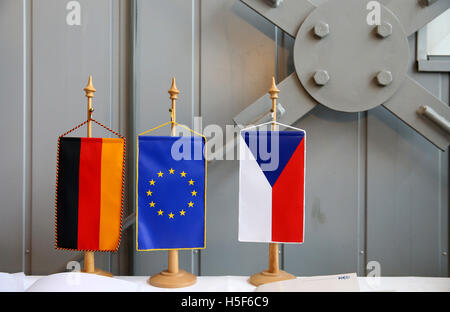 Deutschneudorf, Germany. 19th Oct, 2016. The German, European and Czech flag can be seen in Deutschneudorf, Germany, - Stock Photo