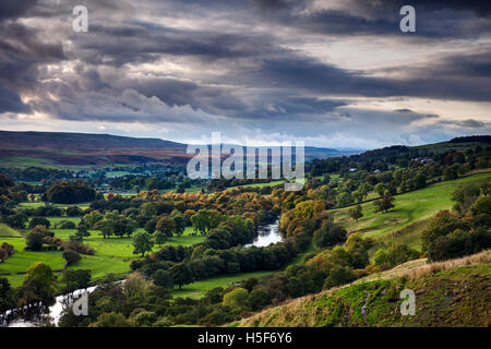 Upper Teesdale, County Durham UK.  Thursday 20th October 2016, UK Weather.  After a day of sunny spells and heavy - Stock Photo