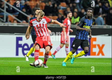 Milan, Italy. 20th Oct, 2016. James Ward-Prowse of Southampton FC shoots on goal during the Europa League match - Stock Photo