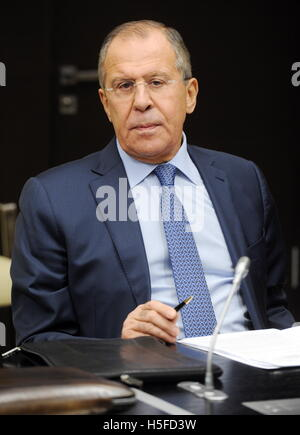 Moscow Region, Russia. 21st Oct, 2016. Russia's Foreign Minister Sergei Lavrov at a Russian Security Council meeting - Stock Photo