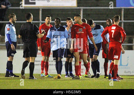 Tempers flare during the first half - Barkingside vs Redbridge - Ryman League Division One North Football at Oakside - Stock Photo