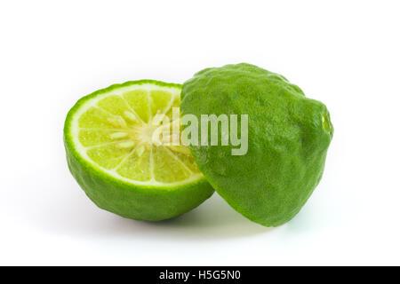 Kaffir lime isolated on white makrut lime Mauritius papeda - Stock Photo