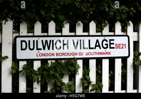 Dulwich Village sign, London, UK - Stock Photo