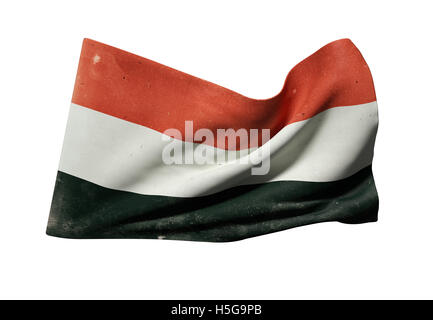 3d rendering of an old Republic of Yemen flag waving on white background - Stock Photo